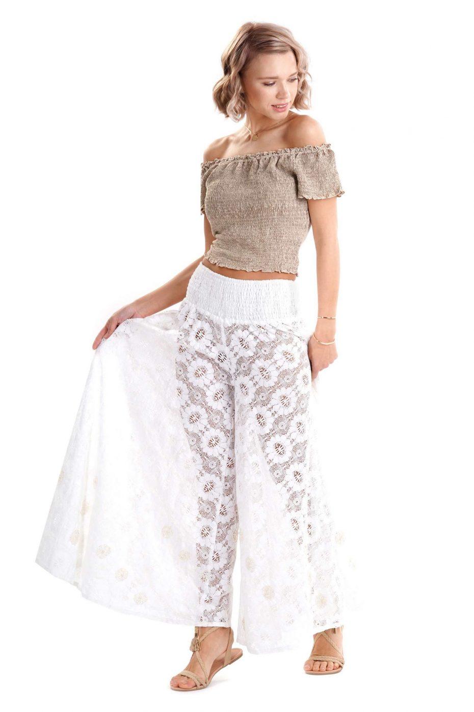 Pantalon Largo Croche Blanco Lace