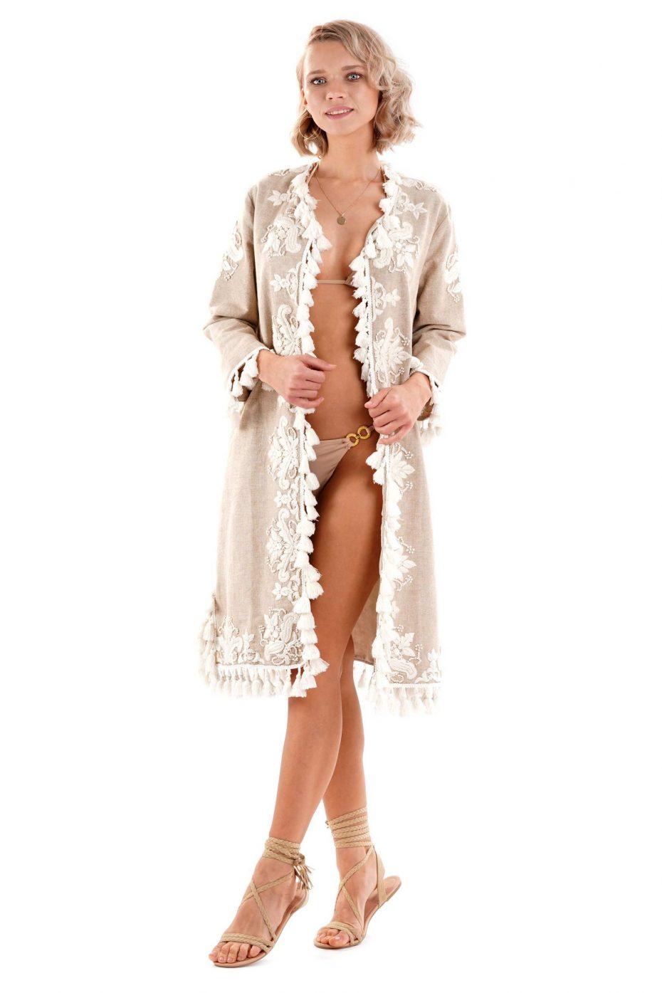 Kimono Bordado solapa beige Summer