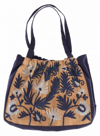 Bolso Medio de Playa Bordado Floral
