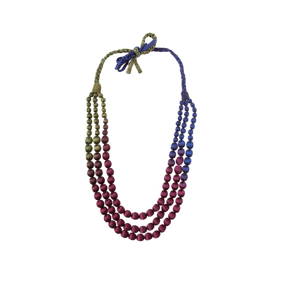 Collar Largo Bolas Tricolor Seda de Alibey