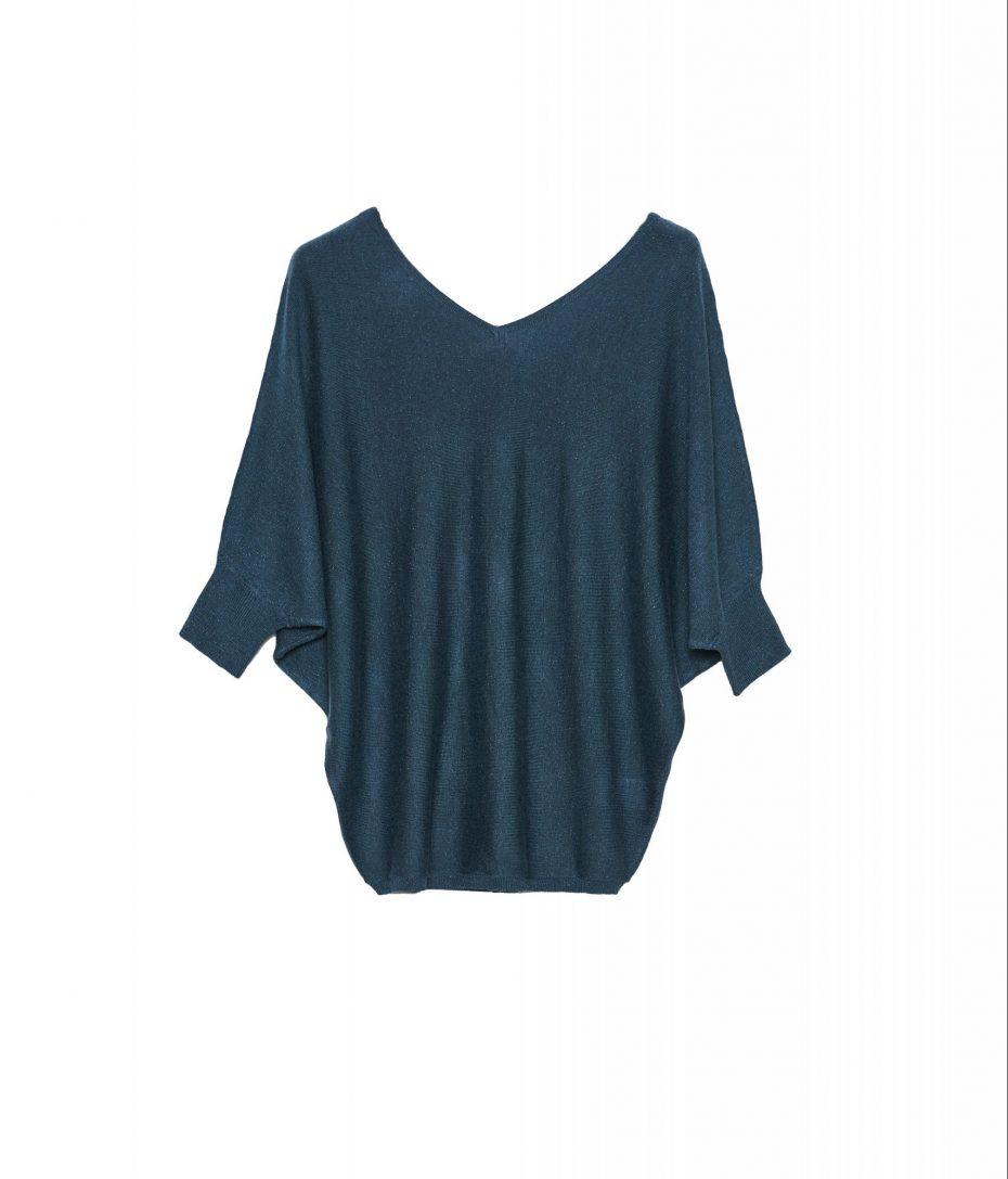 Jersey de Punto con Cuello Pico Azul Verdoso de VanDos