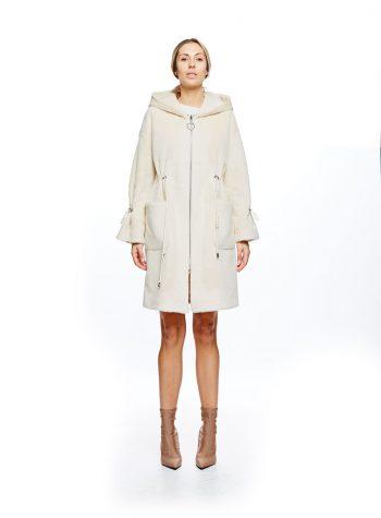 Abrigo reversible de piel vuelta con Capucha Crudo de VanDos
