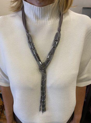 Collar Largo Corbata Cristales de Alibey