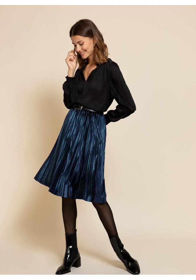 Falda plisada terciopelo Negra Justina de Calma Boutique