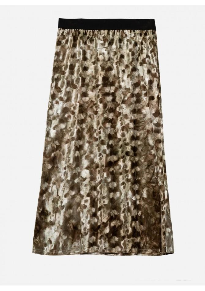 Falda midi estampado geometrico dorado Jess de Calma Boutique