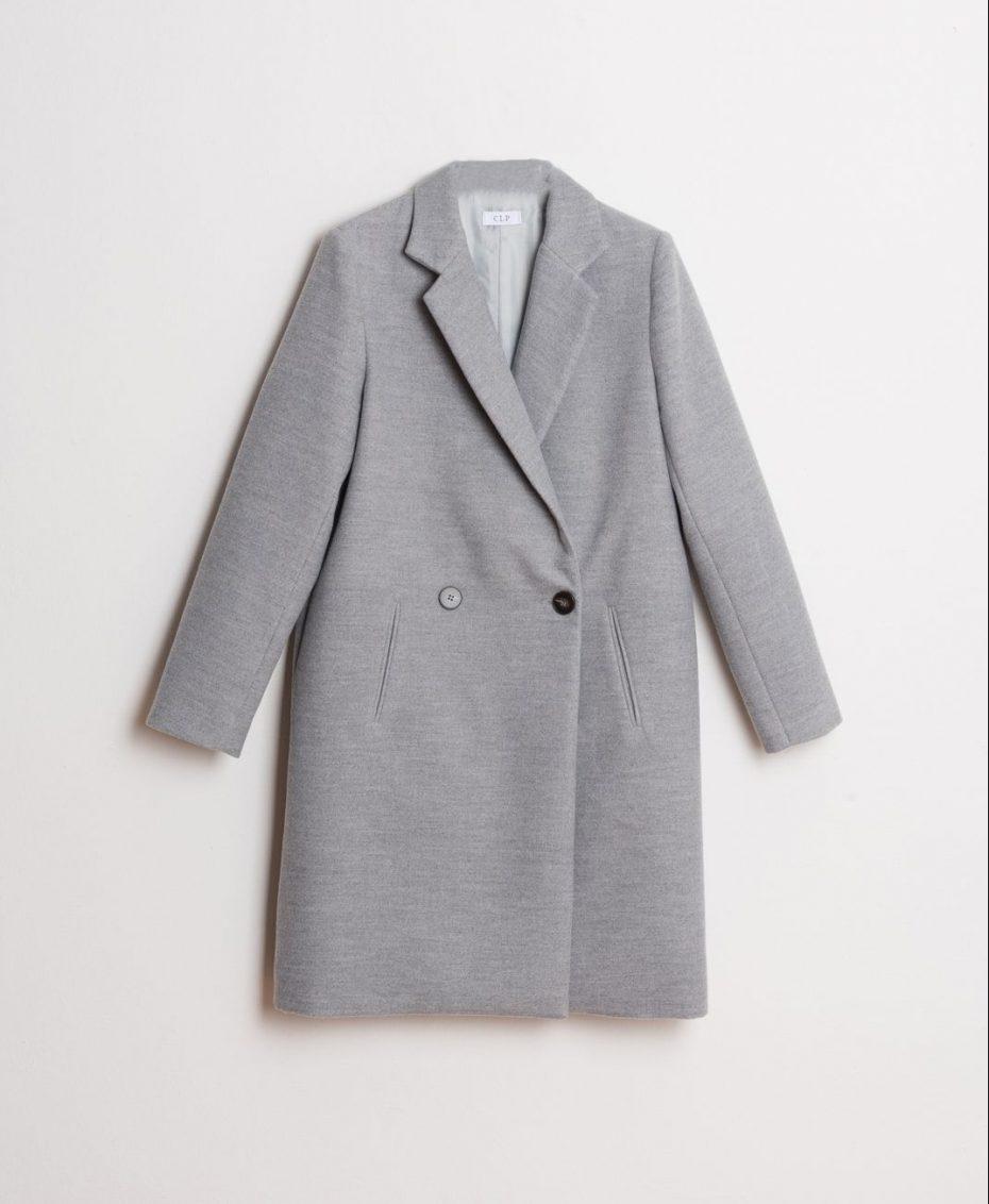 Abrigo de paño cruzado gris