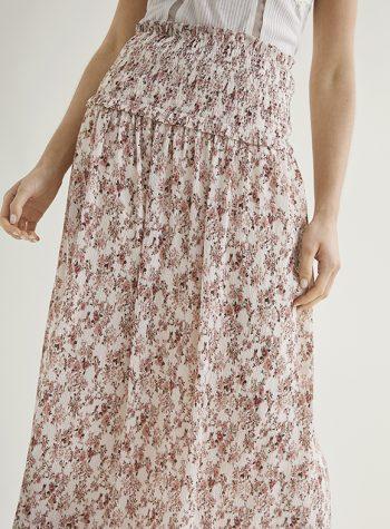 Falda Larga Mini Plisado Floral Zila de Nüd
