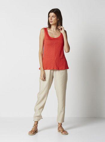 Camiseta Tirantes Lino Coral de Vandos
