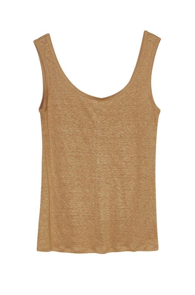 Camiseta Tirantes Lino Camel de Vandos
