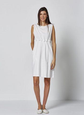 Vestido Corto Fruncido Blanco de Vandos