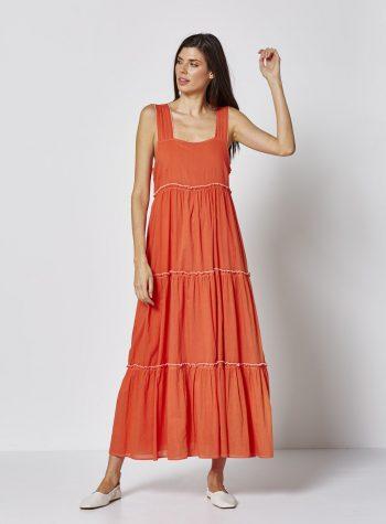 Vestido Largo Volantes Naranja de Vandos