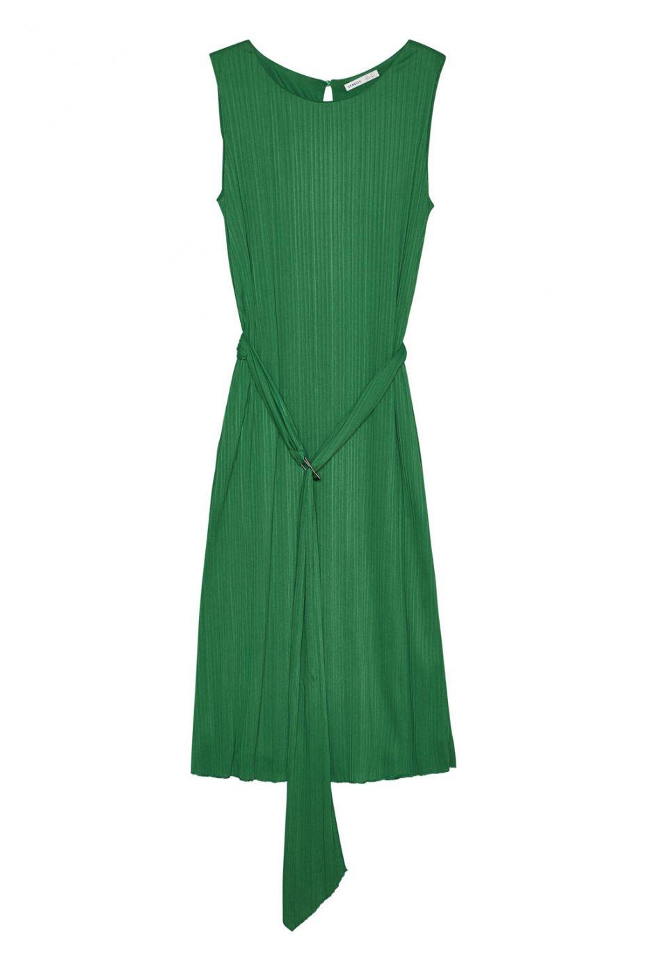 Vestido Largo Plisado Cinturon Verde de Vandos