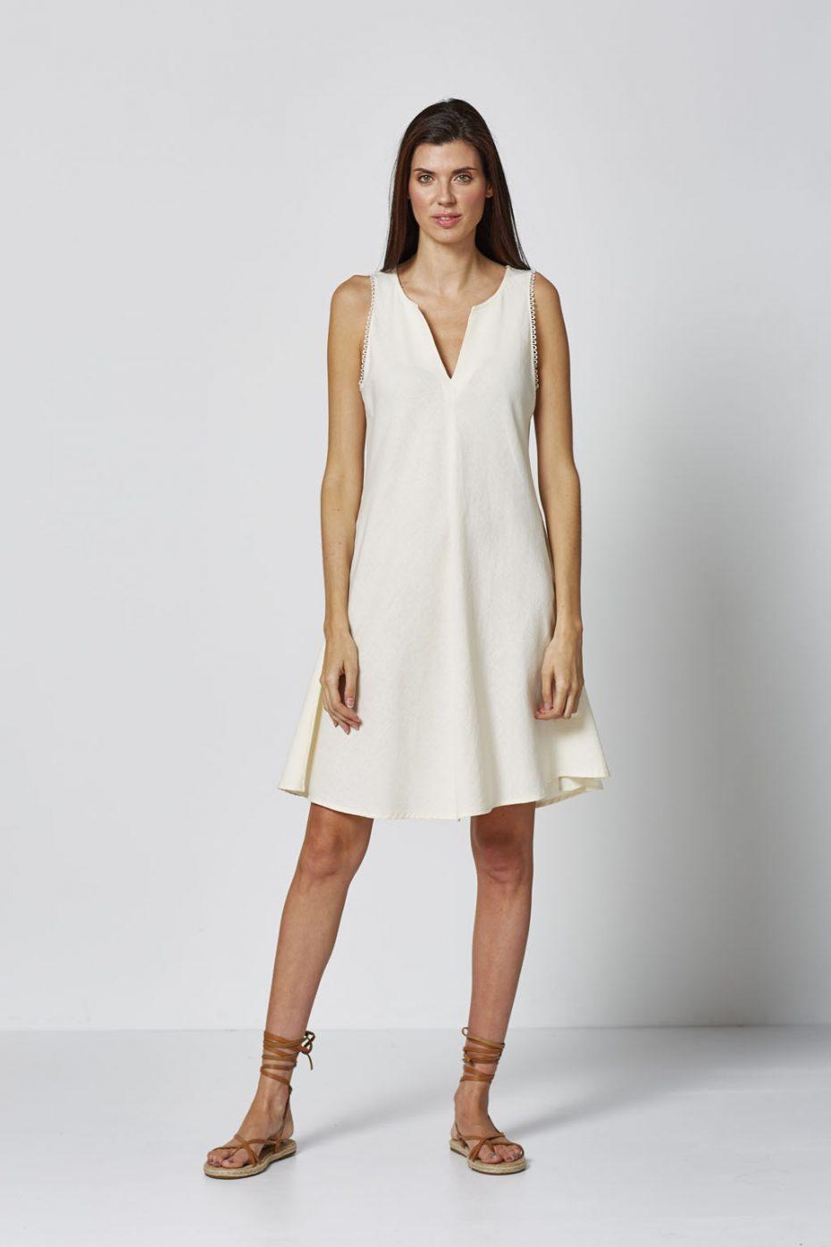 Vestido Corto Lino Crudo de Vandos