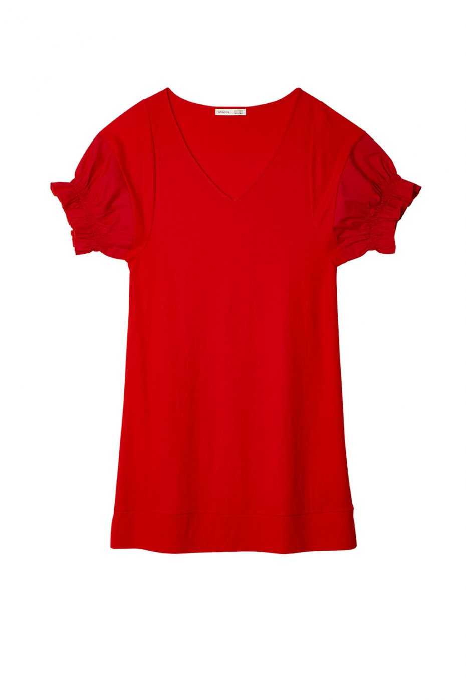 Vestido Corto Mangas Abullonadas Rojo de Vandos