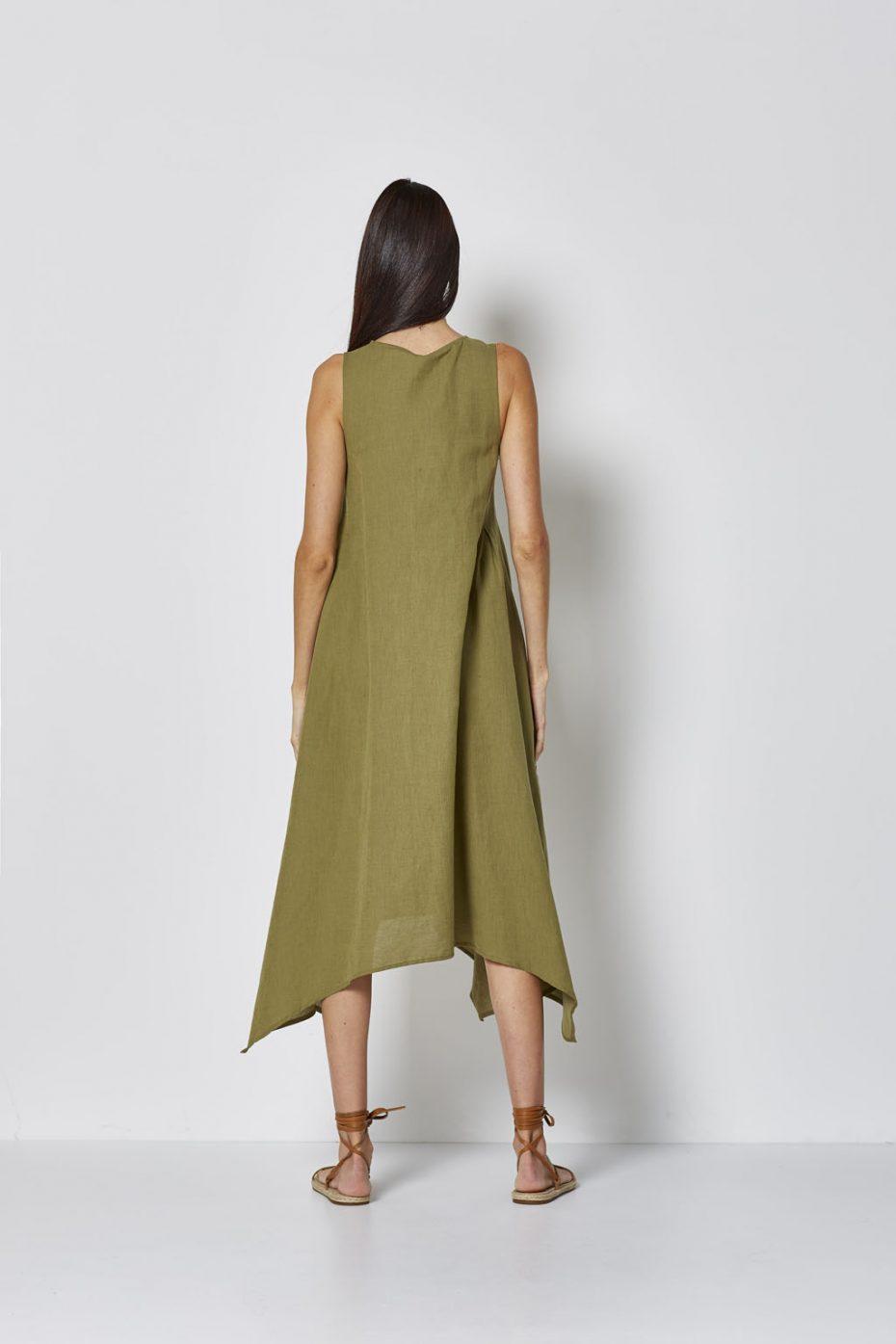 Vestido Largo Lino Verde de Vandos