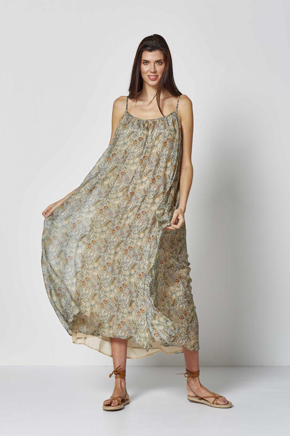 Vestido Largo Seda Estampado Floral de Vandos