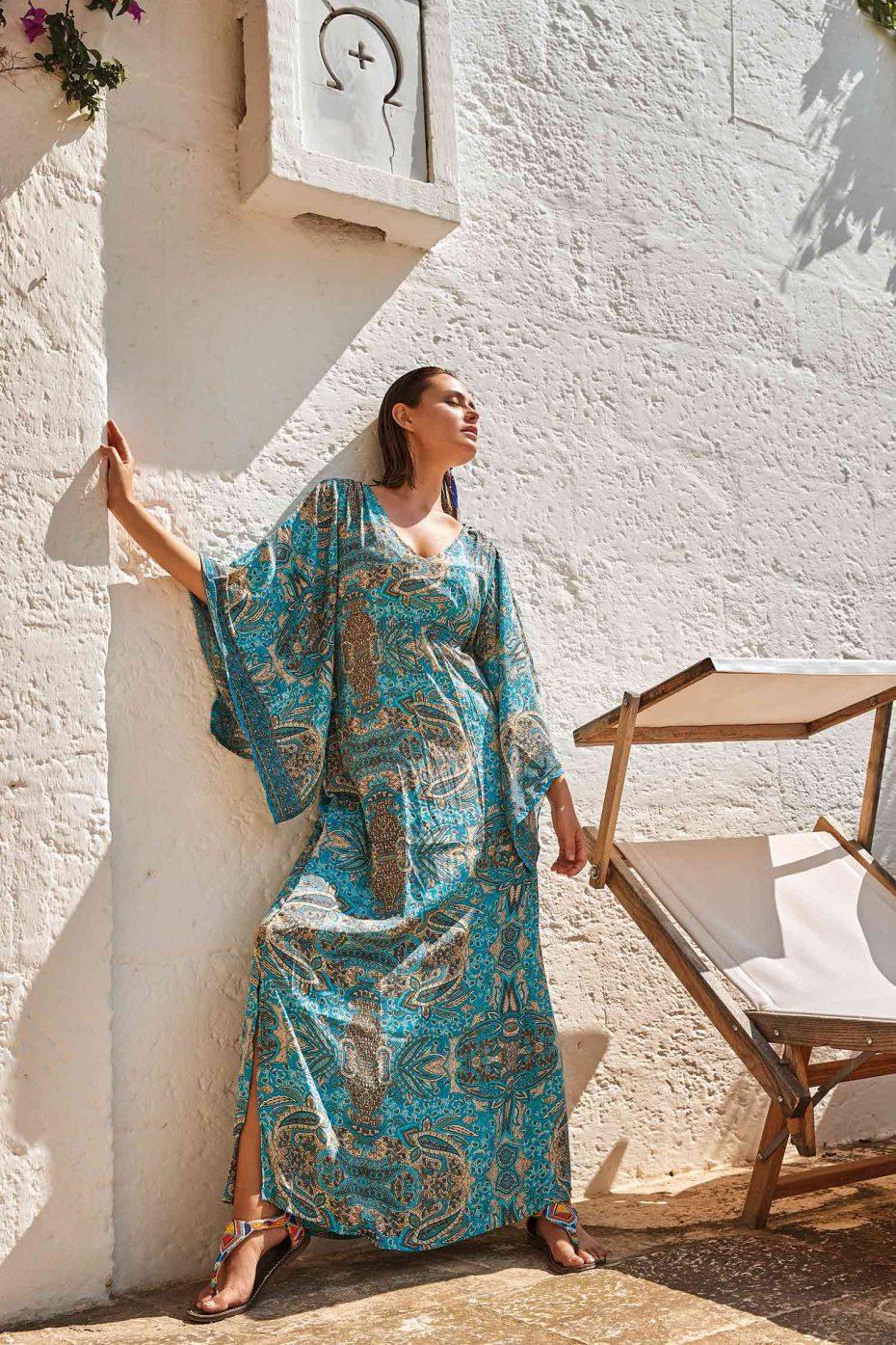 Vestido Caftan Largo Turquesa Otranto