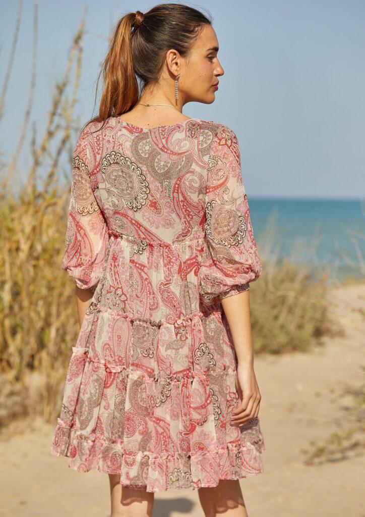 Vestido Corto Paisley Coral Catalina