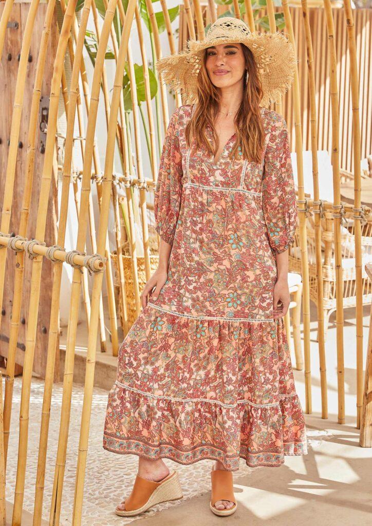 Vestido Largo Manga Abullonada Flores Bambu