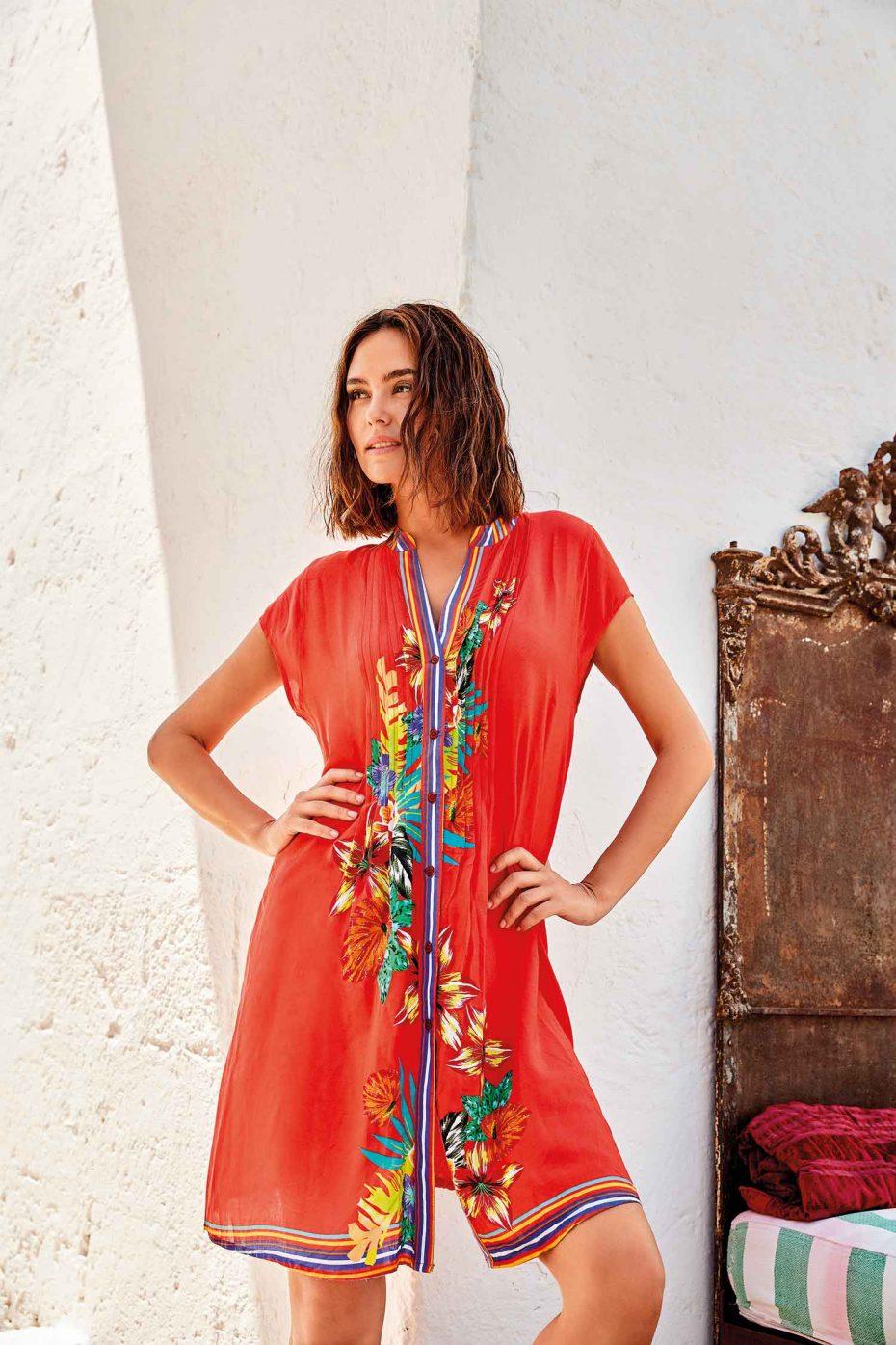 Vestido Corto Camisero Naranja Nevis