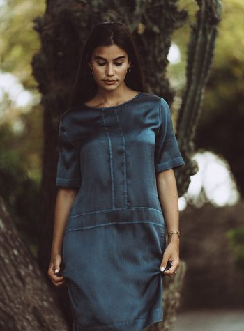 Vestido Corto Seda Indigo de Luna Brands