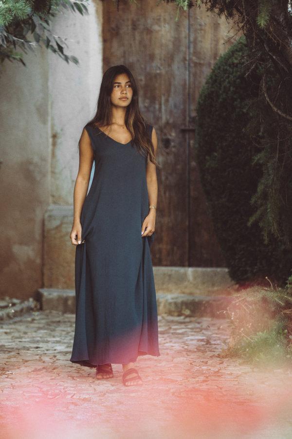 Vestido Largo Crepe Azul de Luna Brands