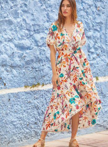 Vestido Asimetrico Flores Tropical Paraiso