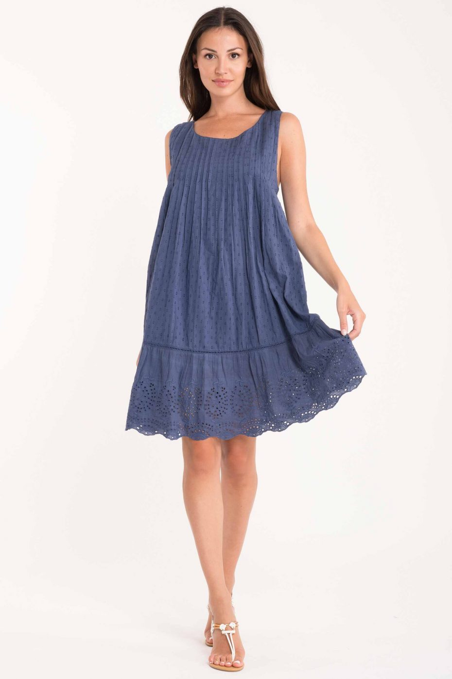 Vestido Corto Plumeti Azul Salina