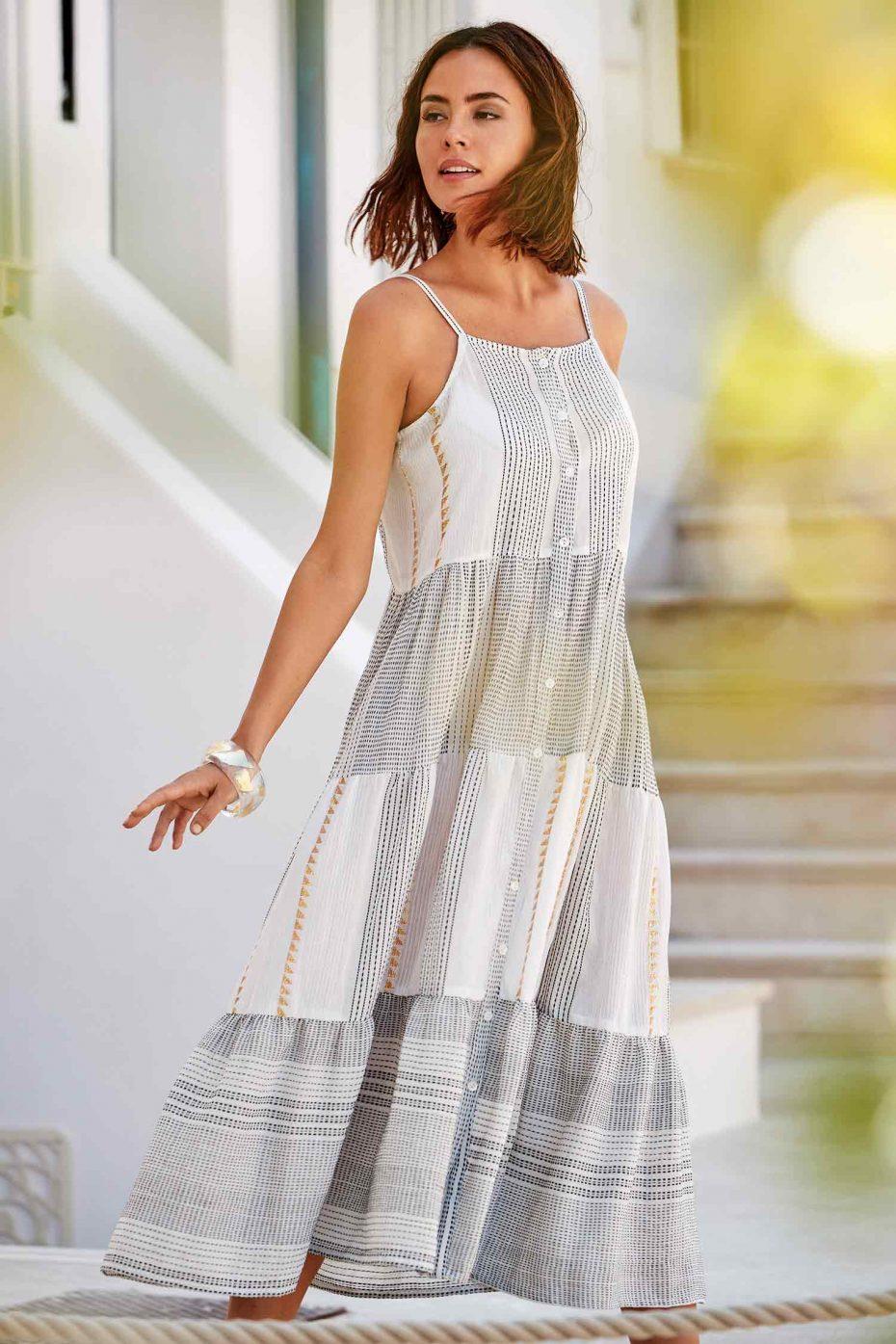 Vestido Largo de Tirantes Blanco Vulcano