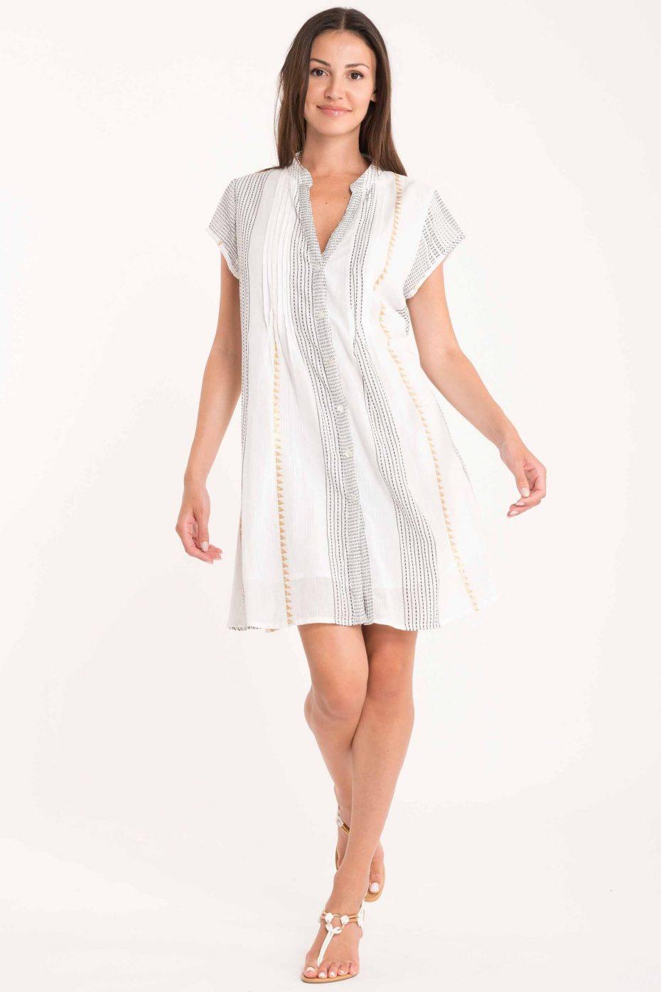 Vestido Corto Camisero Blanco Nevis