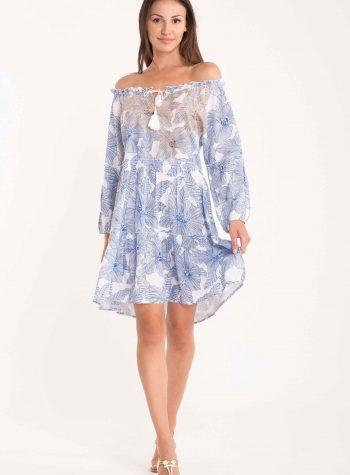 Vestido Corto Bandeau Azul Capri