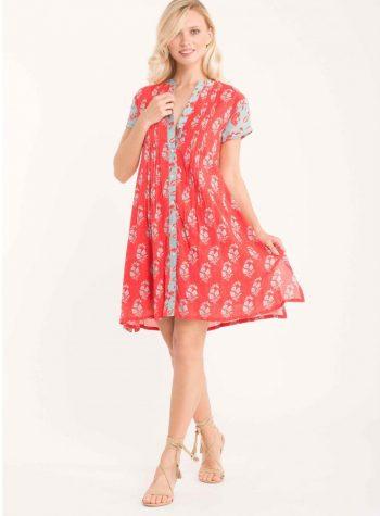 Vestido Corto Kaftan Rojo Malibu