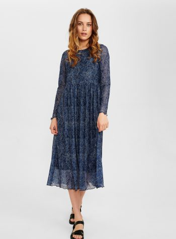 Vestido Largo Tul Elastico Azul