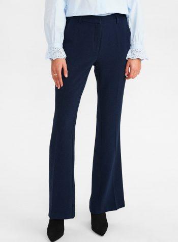 Pantalon Crepe Flare Regular Fit Azul