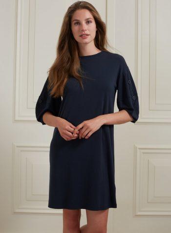 Vestido Recto Botones Modal Azul